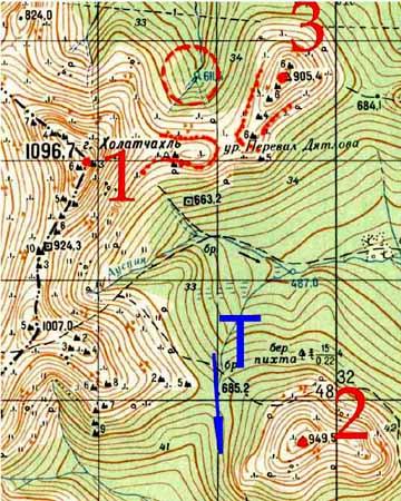 Карта района перевала Дятлова,